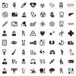 Medical Icons. Black Flat Design. Vector Illustration.