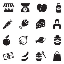Market Place Icons. Black Flat Design. Vector Illustration.