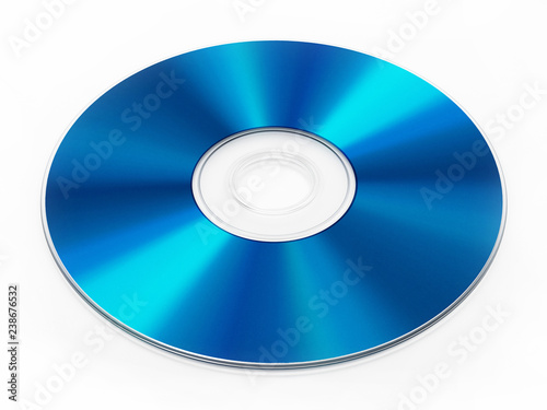 Fototapeta Blu-ray disc isolated on white background. 3D illustration