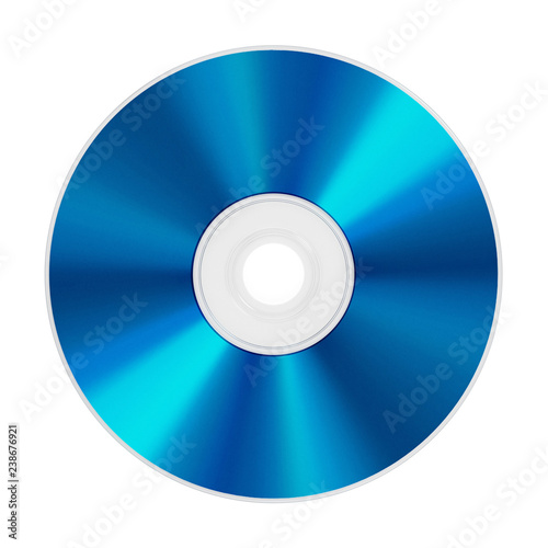 Fotografía  Blu-ray disc isolated on white background. 3D illustration