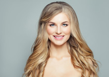 Smiling Blonde Woman With Curl...