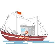 Fishing Boat Isolated On White Background. Commercial Fishing Boat. Sea Or Ocean Transportation.