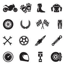 Motorcycle Icons. Black Flat Design. Vector Illustration.