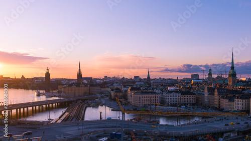 Montage in der Fensternische Stockholm Sunset at Stockholm, Sweden