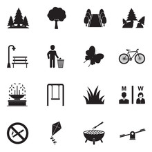 Park And Outdoor Icons. Black Flat Design. Vector Illustration.