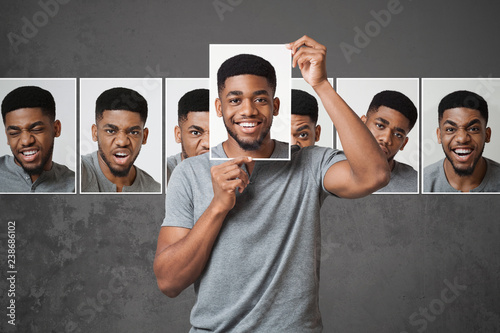 Canvas Print Concept of man choosing expression of face