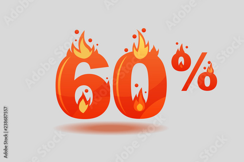 Photographie  sixty percent discount, numbers on fire