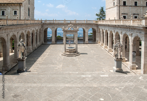 Poster Monument Cistern in the Cloister of Bramante, Benedictine abbey of Montecassino. Italy