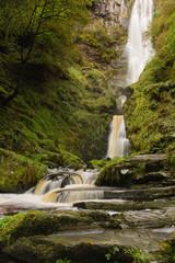 Pistyll Rhaeadr waterfall in Llanrhaeadr ym Mochnant Powys where the river Afon Disgynfa drops 240 feet also listed as one of the Seven Wonders of Wales
