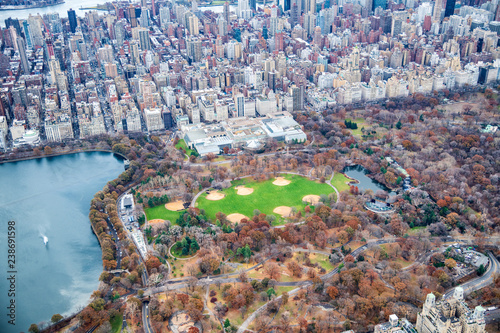In de dag New York City Metropolitan Museum Of Art and Central Park aerial view in autumn, New York City from helicopter
