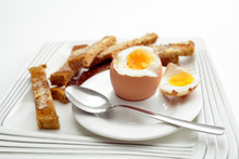 Boiled Egg Breakfast With Toast Soldiers