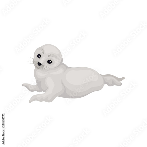 Photo  Flat vector icon of lovely white seal pup lying isolated on white background