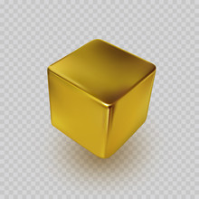 Cube Icon Isolated On Transparent Background. Perspective 3d Golden Box Model With A Shadow. Vector Gold Square, Bar, Ingot Or Block Template.