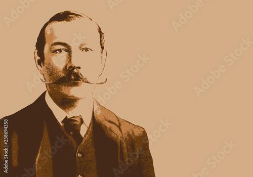 Photo Portrait de Conan Doyle, célèbre écrivain écossais, créateur de Sherlock Holmes