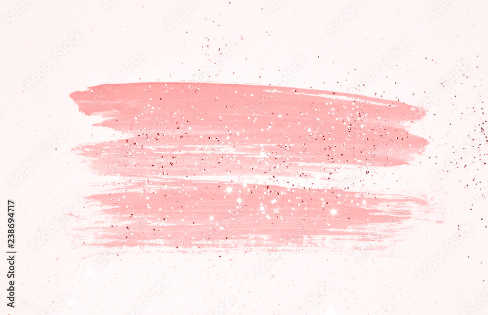 Fototapeta Abstract pink watercolor splash and golden glitter in vintage nostalgic colors.