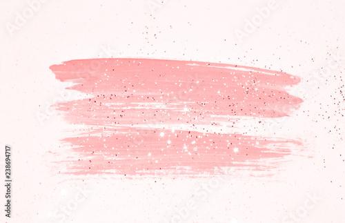 Fototapeta Abstract pink watercolor splash and golden glitter in vintage nostalgic colors. obraz