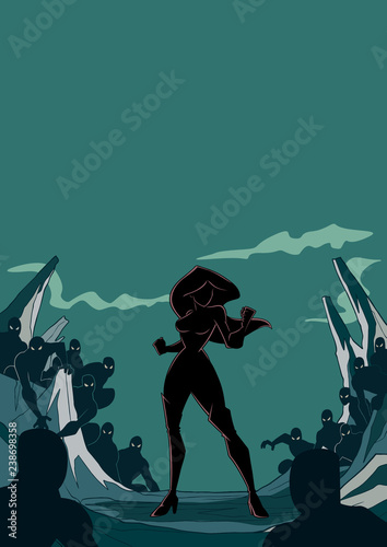 Foto op Aluminium Grandfailure Silhouette illustration of brave cartoon superheroine standing alone in confrontation with the forces of evil as concept for courage and positive power. Copyspace included.