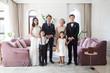 Portrait of happy noble family
