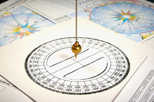Astrological Pendulum For Tarot And Astrological Circle On The Background Of Astrological Charts And Horoscopes