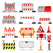 Road Barrier Vector Street Traffic-barrier Under Construction Warning Roadblock Blocks On Highway Illustration Set Of Barricade Detour And Blocked Roadwork Barrier Isolated On White Background
