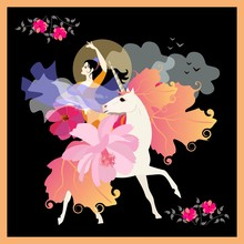 Beautiful Black-haired Girl With Fan In Form Of Flower And Shawl In Shape Of Flying Bird, Gallops On Unicorn With Mane And Tail In Form Of Autumn Leaves On Moonlit Night.