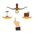 Concept of time and money. Time is more valuable than money. Time is money on scales icon. Money and time balance on scale. Vector illustration.