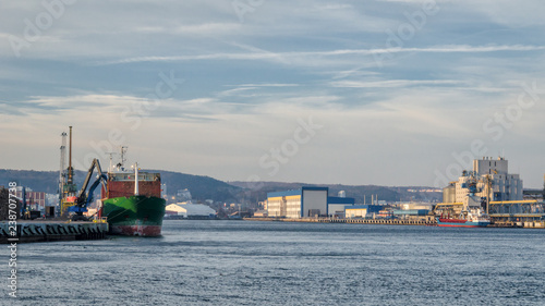 Tuinposter Poort SEAPORT - Cargo ships at the wharf in Gdynia