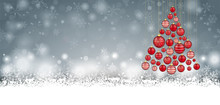 Christmas Red Baubles Tree Gray Header