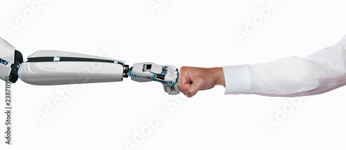Photo  Businessman Robot Fist Bump