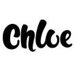 Female name - Chloe. Lettering design. Handwritten typography. Vector
