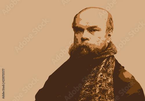 Portrait de Paul Verlaine, célèbre écrivain et poète français du 19ème siècle Canvas Print
