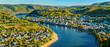 canvas print picture - Aerial view of Filsen and Boppard towns with the Rhine in Germany