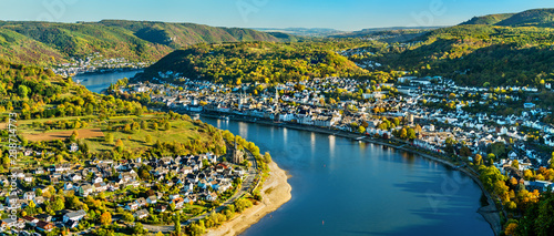 Canvas Print Aerial view of Filsen and Boppard towns with the Rhine in Germany
