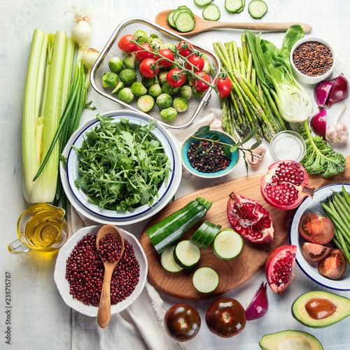 Seasonal vegetarian, vegan cooking ingredients Wall mural