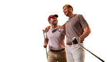 Two Male Golf Players On White Background. Isolated Smiling Golfers With Golf Clubs