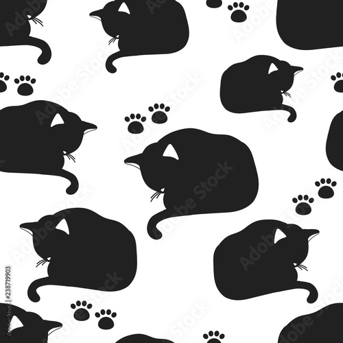 Sleeping cats, paw prints, hand drawn backdrop. Black and white seamless pattern with animals. Decorative cute wallpaper, good for printing. Overlapping background vector. Design illustration