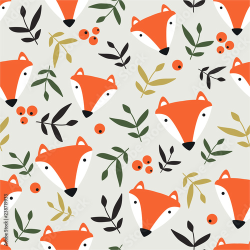 Happy foxes, leaves, berries, hand drawn backdrop. Colorful seamless pattern with  muzzles of animals. Decorative cute wallpaper, good for printing. Overlapping background vector. Design illustration