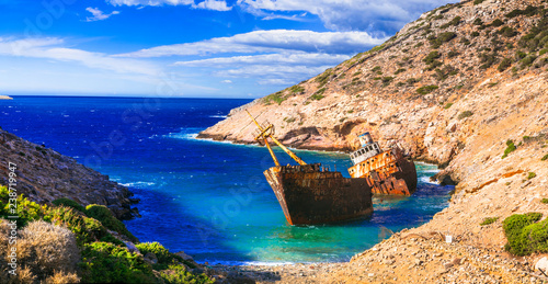 Impressive view of old shipwreck in Amorgos island, Cyclades, Greece