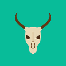 Bull Skull Flat Icon Isolated ...