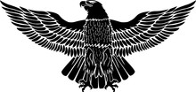 Eagle With Open Wings In Black For Tattoo And Stickers