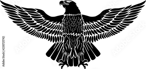 Fotografia Eagle with open wings in black for tattoo and stickers