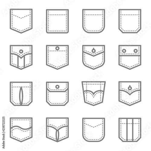 Patch Pocket Style Vector Line Icon Set Wallpaper Mural