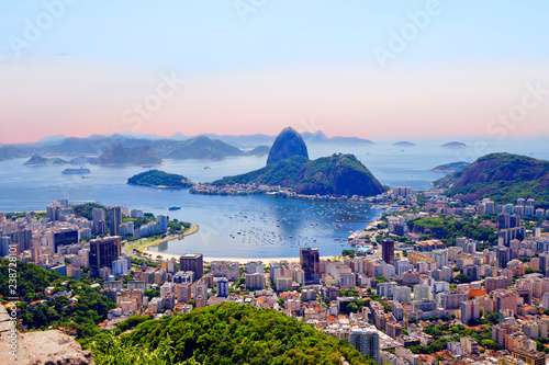 Rio de Janeiro. Brazil. View of the city from mount Corcovado. Corcovado mountain offers magnificent views of the city of Rio de Janeiro.