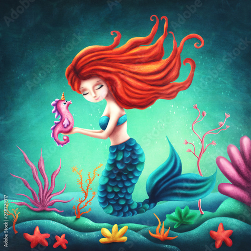 Fényképezés Illustration of a cute mermaid
