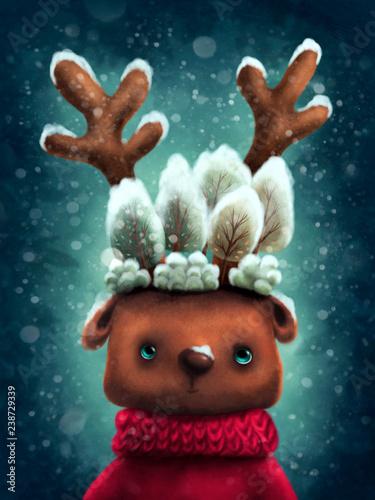 Cuadros en Lienzo Cute reindeer
