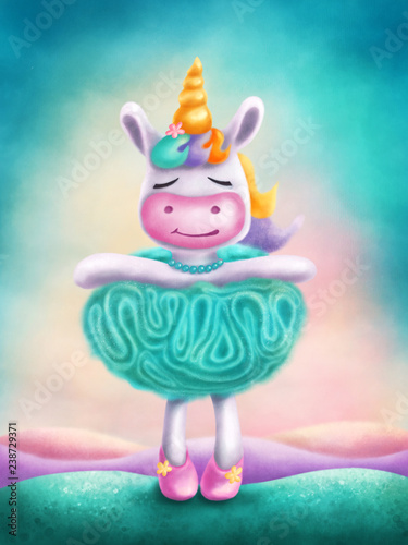 Tablou Canvas Illustration of a cute unicorn