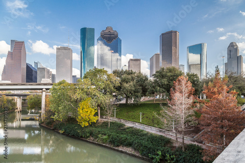 Downtown Houston, Texas over Buffalo Bayou as seen from Sabine bridge and  overl Wallpaper Mural