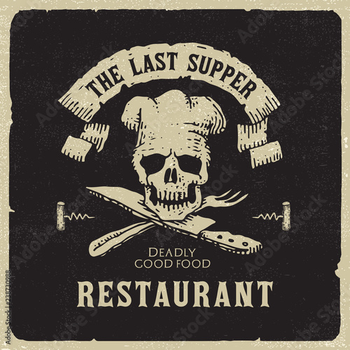 The Last Supper - Dark humorous restaurant logo Wallpaper Mural