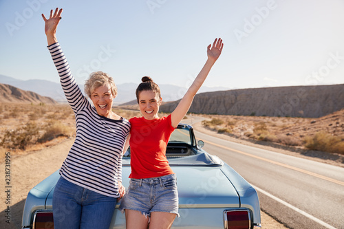 Vászonkép Mum and adult daughter on road trip stand waving to camera