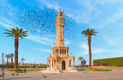 Poster Artistique Izmir clock tower. The famous clock tower became the symbol of Izmir